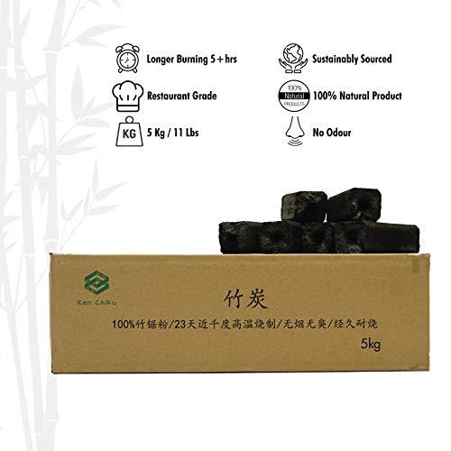 Bambus-Kohle | 5kg Perfekte BBQ-Briketts | Lange Brenndauer | Kein Rauch Und Geruchlos | Restaurantkohle | Gewährleistet Reinen, Köstlichen Lebensmittelgeschmack | Brennen Zum Grillen