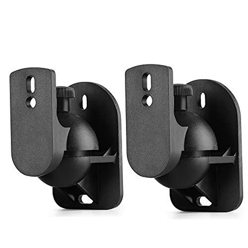 TNP Universal Satellite Speaker Wall Mount Bracket Ceiling Mount Clamp with Adjustable Swivel and Tilt Angle Rotation for Surround Sound System Satellite Speakers - 1 Pair Set of 2, Black