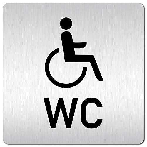 Kinekt3d Leitsysteme XXL Schild - Türschild • 125 x 125 mm • Behinderten Toilette - Rollstuhl + WC • 1,5 mm Aluminium Vollmaterial • 100% Made in Germany