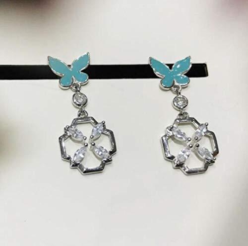 Ohrring, Stud,2019 High-End-Ohrringe S925 Silberne Ohrringe Ms.Ohrringe Exquisite Tide Senior Quelle Pflanze Ausgangs,Blau,Einheitsgröße