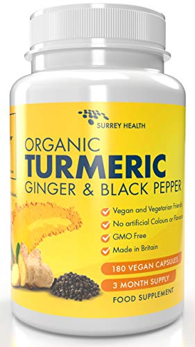 Organic Turmeric with Black Pepper & Ginger 1440mg - 180 Vegan Turmeric Capsules High Strength (3 Month Supply) - Organic Turmeric with Active Ingredient Curcumin - Made in The UK by Surrey Health