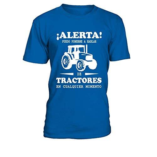 TEEZILY Camiseta Hombre Tractores - Azul eléctrico - S