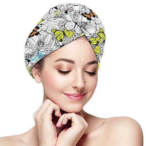 Serviette de séchage cheveux fleurs et papillons - Casquette cheveux secs pour femmes filles