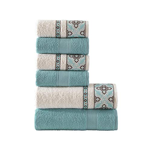 Class Home Collection 6 TLG Frottee Handtücher Set | 4er Handtuch 50x90 cm und 2er Duschtuch 70x140 cm | 6 teilig Frottier Duschtücher | 100% Baumwolle mit Jacquard Bordüre | Alya Türkis