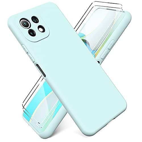 Ikziwreo - Funda para Xiaomi Mi 11 Lite + [2 Pack] Protector Pantalla, Carcasa de Silicona Líquida Gel Ultra Suave Funda con tapete de Microfibra Anti-Rasguño - Verde Claro