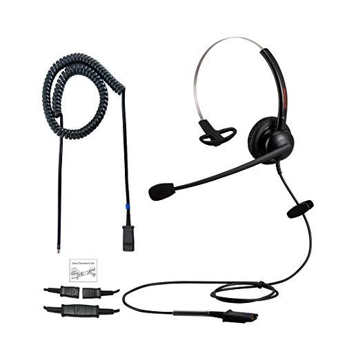 Emaiker - Cuffia telefonica da ufficio RJ9 con microfono a cancellazione del rumore per telefoni fissi Yealink Snom Fanvil Grandstream Akuvox Escene Nero 02