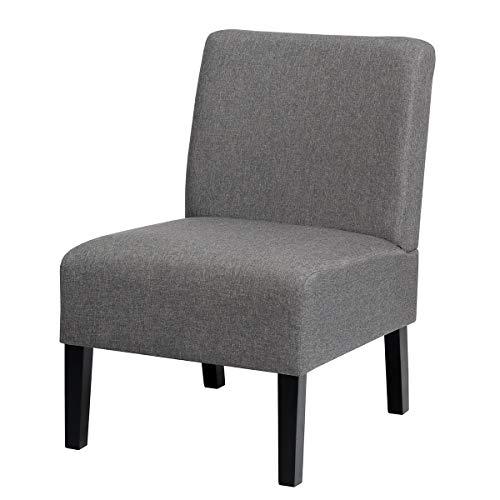 COSTWAY Loungesessel mit Hozbeinen, Polsterstuhl, Ohrensessel Clubsessel Lesestuhl Couchsessel Cocktailsessel ideal für Wohnzimmer und Schlafzimmer, 53 x 71 x 81cm, grau