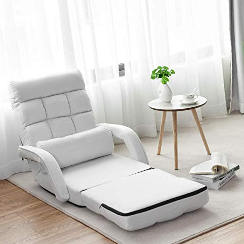 COSTWAY Adjustable Folding Lazy Sofa Bed with Armrests and Pillow, Convertible Floor Armchair Sofa Seat for Home Office, Easy-to-Clean (White)