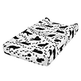 Ambesonne Cat Baby Pad Cover, Cat Silhouette and Animal Tracks Pattern Paws Footprints Kitties Different Poses, Changing Table Topper Slipcover Soft & Gentle Printed Sheet, White Charcoal