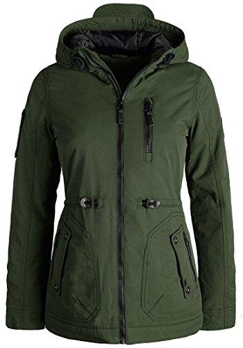 BlendShe Colette Parka De Entretiempo Abrigo Chaqueta para Mujer con Capucha, tamaño:M, Color:Forest Night (20124)