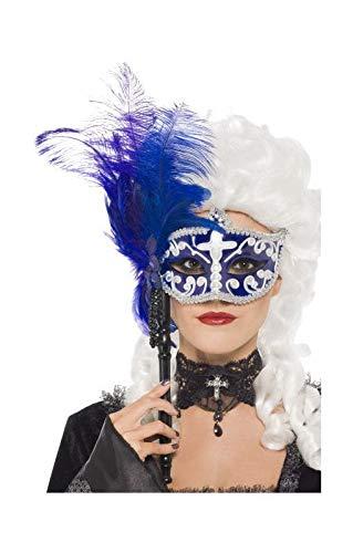 Vénitien masque pour les yeux de la tige avec des plumes