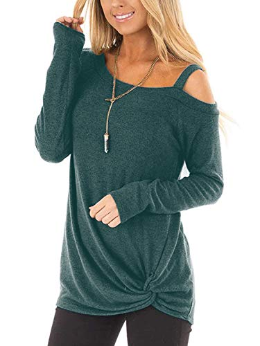 Beluring Langarmshirt Damen Lose Asymmetrisch Sweatshirt Pullover Bluse Oberteile Tops T-Shirt Grün L