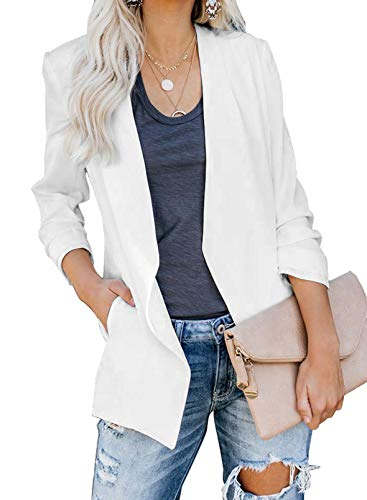 Asvivid Womens Casual Pocketed Office Tailored White Blazers Draped Open Front Cardigans Jacket Solid Ladies Longeline Work Suit S