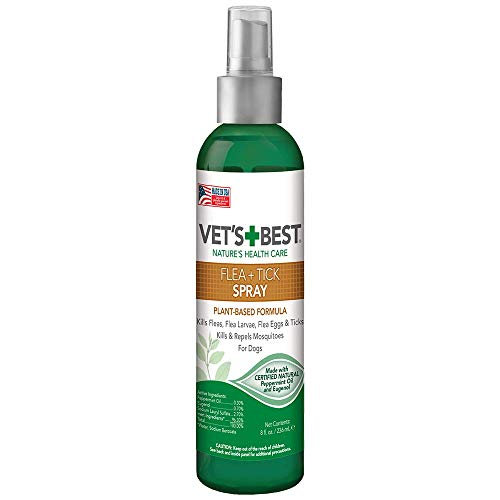 Vets Best Flea & Tick Spray | Flea Treatment & Mosquito Repellent for Dogs | Flea Killer with Certified Natural Oils | 8 oz
