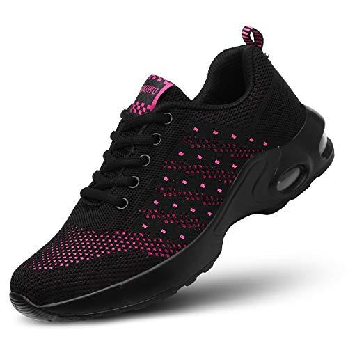 kashiwu Donna Air Scarpe da Ginnastica Corsa Sportive Fitness Running Sneakers Casual all'Aperto(Black/Red 38EU)
