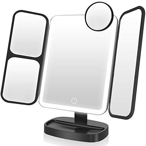 EASEHOLD Makeup Vanity Mirror with Lights 1X/2X/5X/10X Magnifying Mirror 38 LED Cosmetic Mirror with Touch Screen 180 Degree Rotation Dual Power Supply Portable Lighted Trifold Mirror