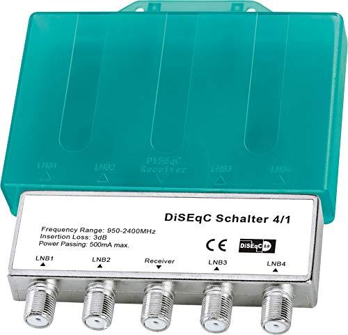 1x DiSEqC Schalter Switch 4/1 Verteiler mit Wetterschutzgehäuse | Für Empfang von 4 Satelliten für 1 Teilnehmer | Full HDTV 3D 4K UHD | 4x1 4 1 LNB Signal Umschalter | Innen und Außen (1x, Grün)