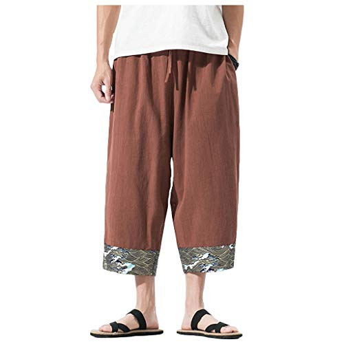 Momoxi Herren Chinese Linen Loose Wide Leg Hosen Khaki 4XL Jumping Fitness Body and fit Outdoor Shop fitnessstudio in der nähe Sophia Thiel Fitness krafttraining Fitness Sophia Thiel Sporthose