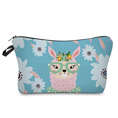 Jom Tokoy Makeup Bag Funny llama Gifts for Women (Alpaca and flowers)