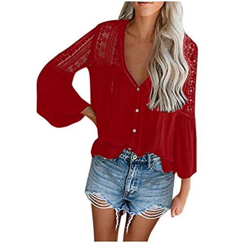 UJUNAOR Women's Blouses Long Sleeve Elegant Shirt Blouse V-Neck Tops Blouses Casual Blouse Shirt Tops Long Sleeve Shirt Women Work Long Sleeves Pagoda Button Lace Cave Blouses Tops - Red - L