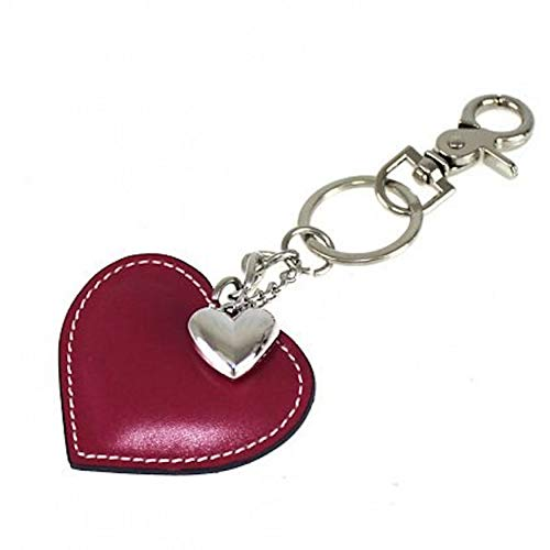 Idea regalo corazón de Dama llavero mujer cuero llavero corazón llavero coche casa con gancho mosquetón y anillos llavero forma corazón auténtica piel Made in Italy rojo