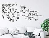 tjapalo s-pkm475 Wanduhr Wandtattoo Uhr mit Uhrwerk Wandsticker Nimm dir Zeit für die Dinge die dich Glücklich machen m Kristallen u Uhrwerk