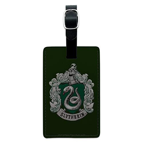Harry Potter Slytherin Painted Crest Rectangle Leather Luggage Card ID Tag