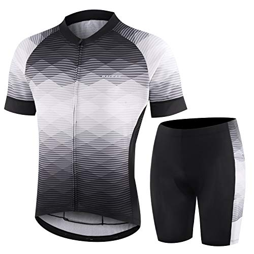 BALEAF Men's Cycling Jersey Set with 4D Gel Padded Shorts Cycling Clothes Shirts Bicycle Short Sleeve Set Road Bike Black/White/Grey Size XL