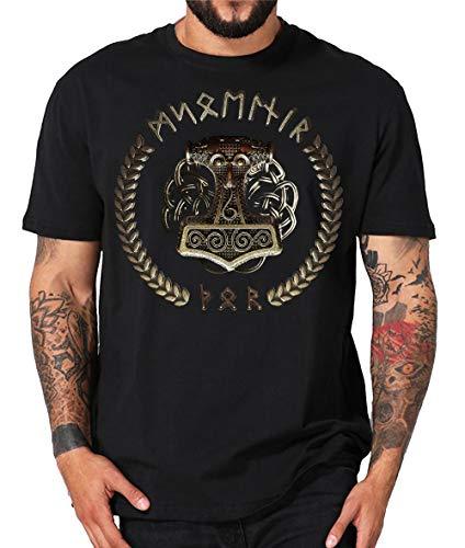 Thorshammer Mjölnir Metal Wikinger LARP Thor Mjoelnar T-Shirt oder Hoodie (3XL, schwarz)