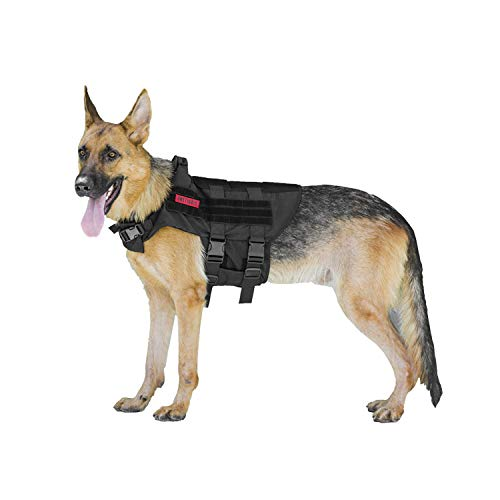 OneTigris MOLLE Hundeweste Atmungsaktiv Hunde Harness Verstellbar Hundegeschirr für Mittlere und Große Hunde (L)  MEHRWEG Verpackung
