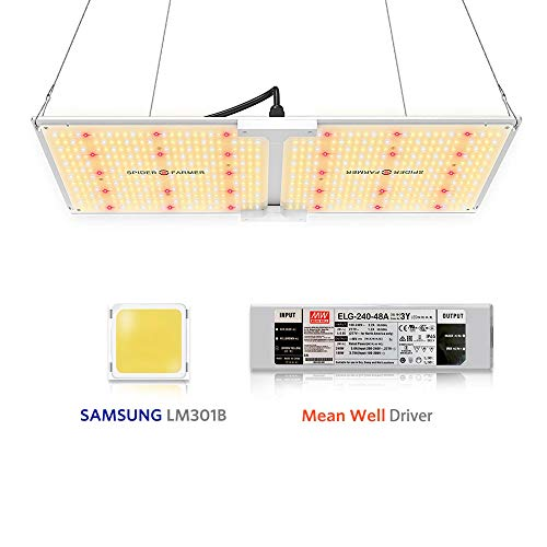 Spider Farmer SF-2000 LED Grow Light, with Samsung Chips LM301B & Dimmable Mean Well Driver, Full Spectrum 3000K 5000K 660nm 760nm IR for Indoor Plants (606pcs LEDs)
