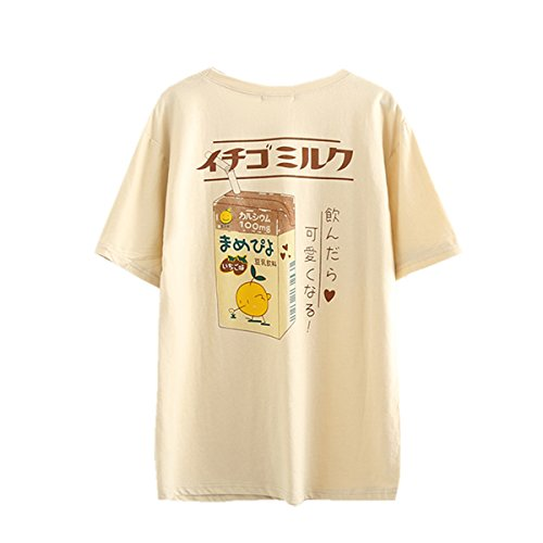 Packitcute Women's Cotton T-Shirts Japanese Style Cute Cartoon Soft Casual Short Sleeve Shirts for Summer (Apricot)