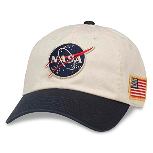 AMERICAN NEEDLE United Slouch Casual Baseball Cap Dad Hat, NASA, Ivory/Navy (43570A-NASA)