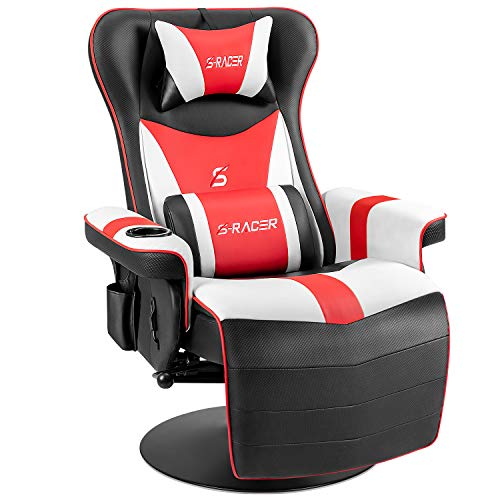 Furniwell Gaming Recliner Chair Racing Style Gaming Ergonomic High Back Computer Chair Swivel Game Reclining Chair Adjustable Backrest and Footrest w/Cup Holder and Side Pouch (Red/White)
