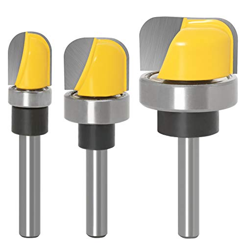 3Pcs Woodwork Bowl & Tray Template Router Bit of 1/4 Inch Shank for Slotting, Arc Digging, and Trimming of Wood