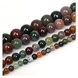 JINSUO NWXZU 4 6 8 Bolas de Piedra Negro Mate Rojo Perlas Sueltas Lava Ojo de Tigre 10mm Piedra Natural for la joyería Que Hace Bricolaje Collar (Color : India Onyx, Size : 10mm/37Pcs)