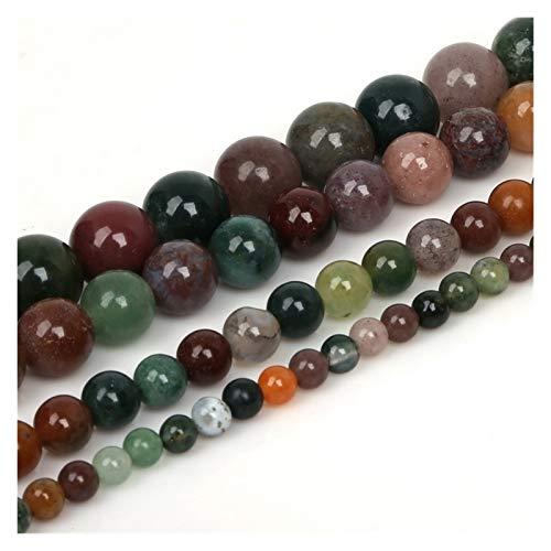 HETHYAN 4 6 8 Bolas de Piedra Negro Mate Rojo Perlas Sueltas Lava Ojo de Tigre 10mm Piedra Natural for la joyería Que Hace Bricolaje Collar (Color : India Onyx, Size : 6mm/62Pcs)