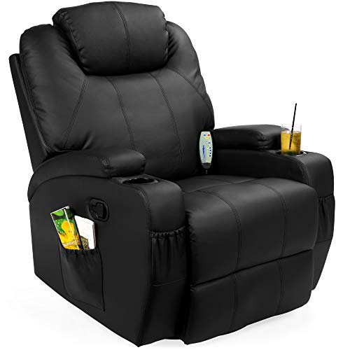 Best Choice Products Executive Swivel Massage Recliner w/ Control, 5 Heat & Massage Modes, 2 Cup Holders, 92lbs (Black)