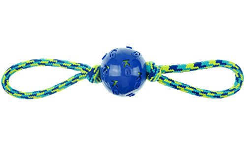ZEUS K9 Fitness Dog Toys by ZEUS Ball Double Tug, 16', Tough Rope Construction Works for Playing Fetch or Tugging (Color May Vary)