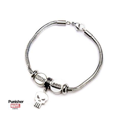 MARVEL - Women's Stainless Steel Punisher Bead Charm Bracelet Set