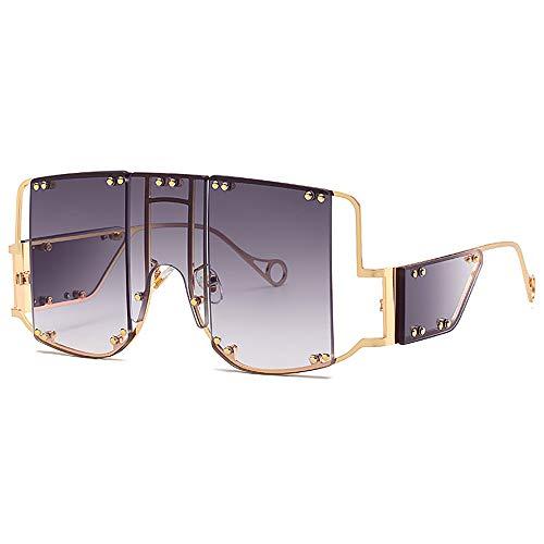 SHEEN KELLY übergroße Mode Sonnenbrillen Retro Quadrat Sonnenbrillen für Männer Frauen Stilvolles Design Metall Niet Trend einzigartige Brillen