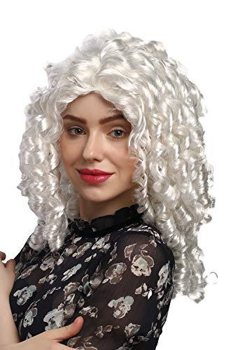 WIG ME UP - 91056-ZA62 Parrucca Donna Carnevale Cosplay Lolita Gotica Barocco Riga in Mezzo Bianco Chiaro Ricci a Cavatappi