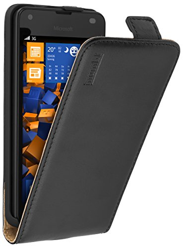 mumbi Echt Leder Flip Hülle kompatibel mit Microsoft Lumia 550 Hülle Leder Tasche Hülle Wallet, schwarz