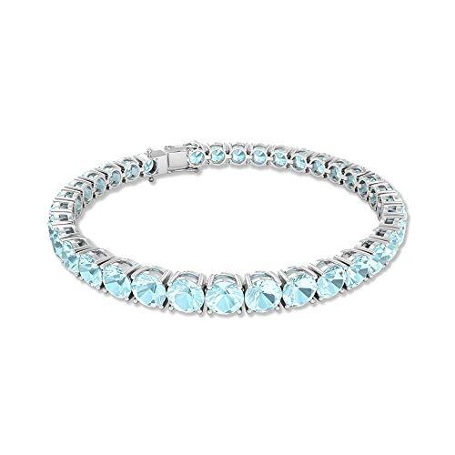 Pulsera de boda con topacio azul de 19,6 quilates, redonda con piedras preciosas certificadas por SGL, única pulsera de dama de honor, pulsera de aniversario de 7 pulgadas, 14K Oro blanco