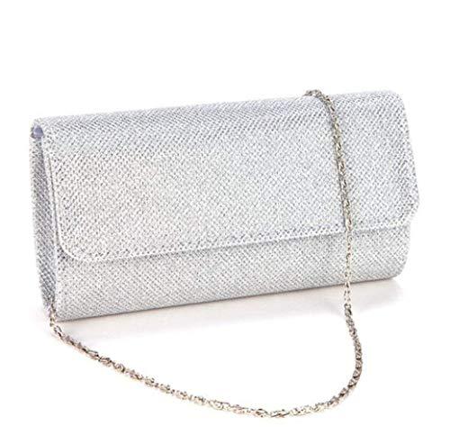 Clasichic Glitter Damen Tasche Clutch Bag Handtasche Party Hochzeit Abendtasche Kettentasche (Silber1)