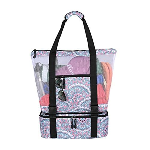 Bolsa de picnic al aire libre, bolsa refrigeradora de malla de doble capa, bolsa de playa portátil