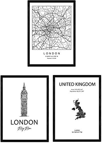 SXXRZA Lienzo 3 Piezas 50x70cm Sin Marco Pack de Carteles y monumentos de países.Londres Reino Unido Mapa de la Ciudad y monumentos