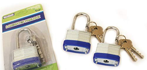3 Pack - Mini Steel Padlock with Key – Laminated, for Gates, Sheds, Lockers, Bikes, Tool Box -  Steel Tuff, 並行輸入品