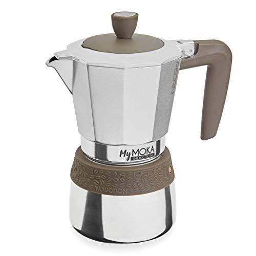 PEDRINI MyMoka Kaffeemaschine für Induktionskochfeld, 6-Tassen-Format, Espressokocher Moka taubengraue Farbe, Stahl außen, Aluminium innen, italienisches Design, Maße 17 x 10 x 19 cm
