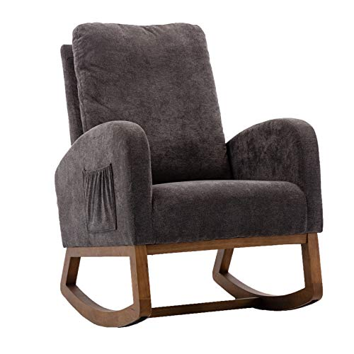 Dolonm Rocking Chair Mid-Century Modern Nursery Rocking Armchair Upholstered Tall Back with Ottoman Accent Glider Rocker for Living Room (Dark Gray)